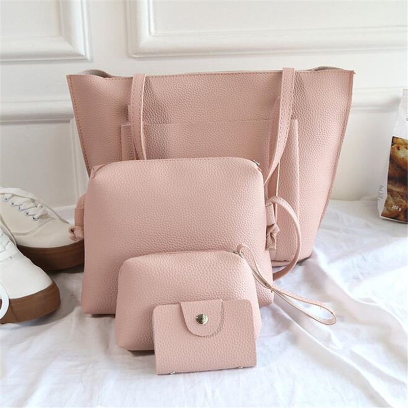 4Pcs/Set Fashion Women Composite Bag  Pure Leather Shoulder Bag Clutch Handbag Large