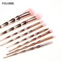 FOLUREE Professional 10 Pcs Rose Gold Unicorn Makeup Brushes Set Pink Brush Eye Shadow Blending Powder