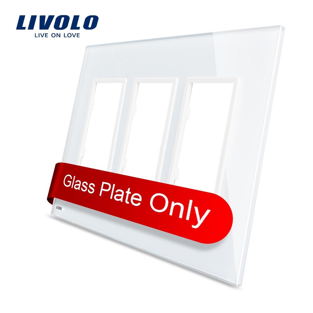 Livolo US standard Luxury White Pearl Crystal Glass, Triple Glass Panel For Wall Switch&Socket, VL-C5-SR/SR/SR-11 free shipping smart home us au standard wall light touch switch ac220v ac110v 1gang 1way white crystal glass panel