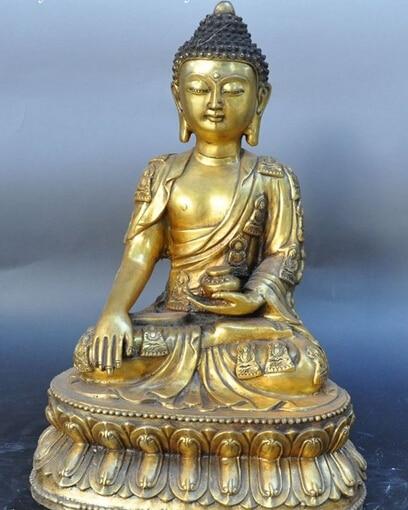 006997 16 Tibet Buddhism Bronze Gilt Seat Lotus Shakyamuni Amitabha Buddha Bowl Statue006997 16 Tibet Buddhism Bronze Gilt Seat Lotus Shakyamuni Amitabha Buddha Bowl Statue
