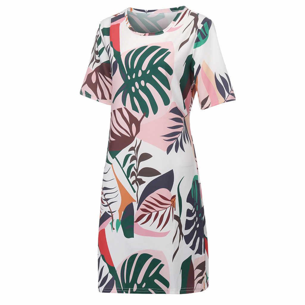 Jaycosin 服ドレスファッション女性のセクシーなプラスサイズ葉プリント半袖 O ネックルーズミニボヘミアン 5xl ドレス