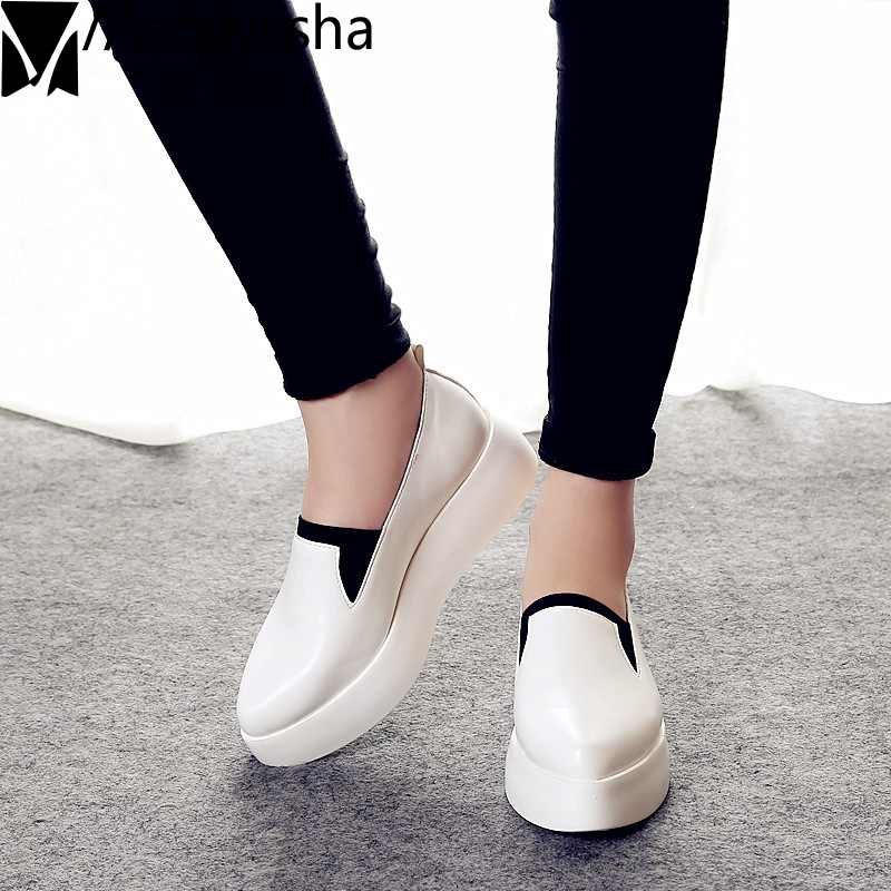 2018 Spring Women Flats PU Leather Shoes Woman Espadrilles Slip On Platform Loafers Woman Creepers Casual Shoes Size 35~40 minika women shoes summer flats breathable lace loafers platform wedges lose weight creepers platform slip on shoes woman cd41