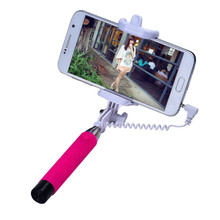 Mini Foldable Wired Selfie Stick Cable Extendable Handheld Self-Pole Tripod Monopod Built-in Shutter Stick For Smartphone Dec6