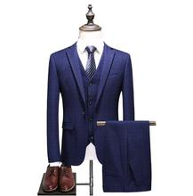 2019 New Style Mens Wedding Suits Casual Plaid Male High Quality Suit Tailored Business Party  (Jacket+Vest+Pants)