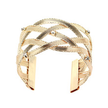 Punk Jewelry Female Gold Color Knitted Rhinestone Open Cuff Bangle Fashion Golden Design Wide Bracelet Party