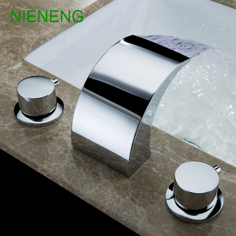 NIENENG bathroom faucet waterfall sink faucets tap 3 hole basin sink mixer bathtub taps bath accessories hardware ICD60170