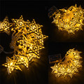 Battery Operated Fairy 20LED Metal Golden Star String Decoration Light Warm White LED Light For Halloween Christmas Party