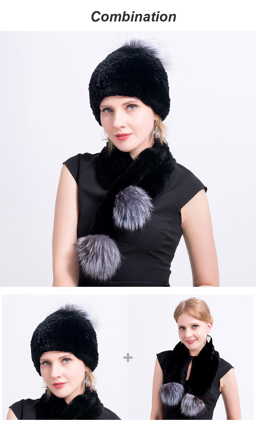 Rex rabbit fur hat scarves pompom combination