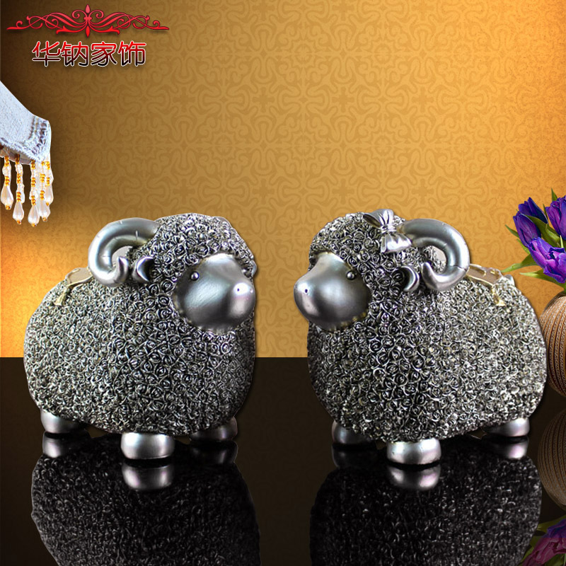 2016 Hot Sale A Couple Of European Sheep Resin Decoration Crafts Home Furnishing Happiness Living Room Wedding Gift Opening