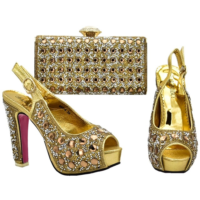 Gold shinning bling bling shoe bag set for african aso ebi shoes and bag to  match women sandal shoes and clutches bag SB8130-4 81fed43e83f8