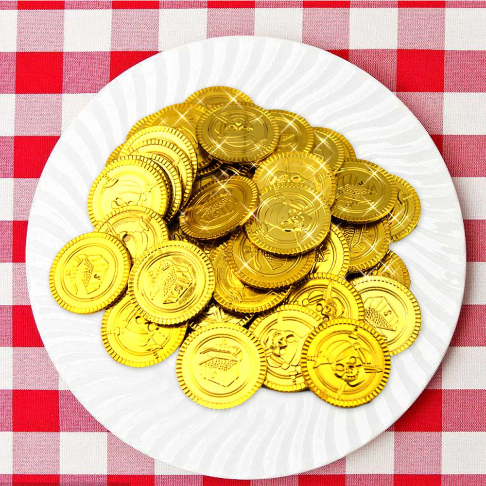 100pcs Plastic Play Gold Coins Treasure Play House Toys for Kids Children Supermarket Shopping Pretend Play House Toys