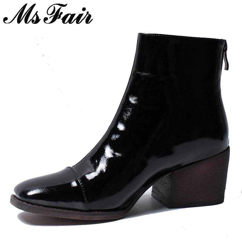 MSFAIR Square Toe Square heel Women Boots Fashion Zipper Black Ankle Boots Women Shoes Leather High Heel Boot Shoes For Girl msfair round toe low heel women boots zipper square heel knee high boots winter shoes genuine leather black boot shoes for girl