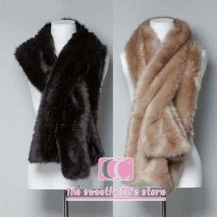Wraps e cachecol de inverno ( preto / bege ) - de mulheres de pele falso cachecol cachecol