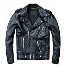Черная Мужская Весенняя натуральная Байкерская кожаная куртка размера плюс XXXXL приталенная Байкерская кожаная куртка из воловьей кожи