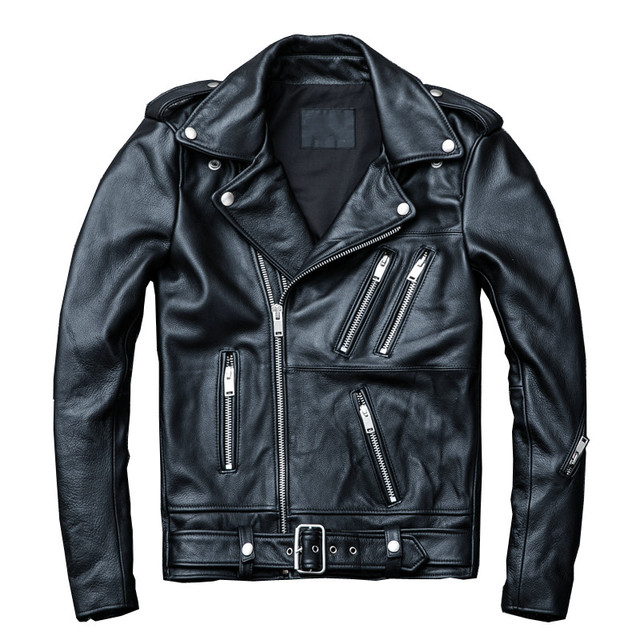 2019 Black Men Spring Genuine Biker's Leather Jacket Plus Size XXXXL Slim Fit Cowhide Motorcycle Leather Coat FREE SHIPPING