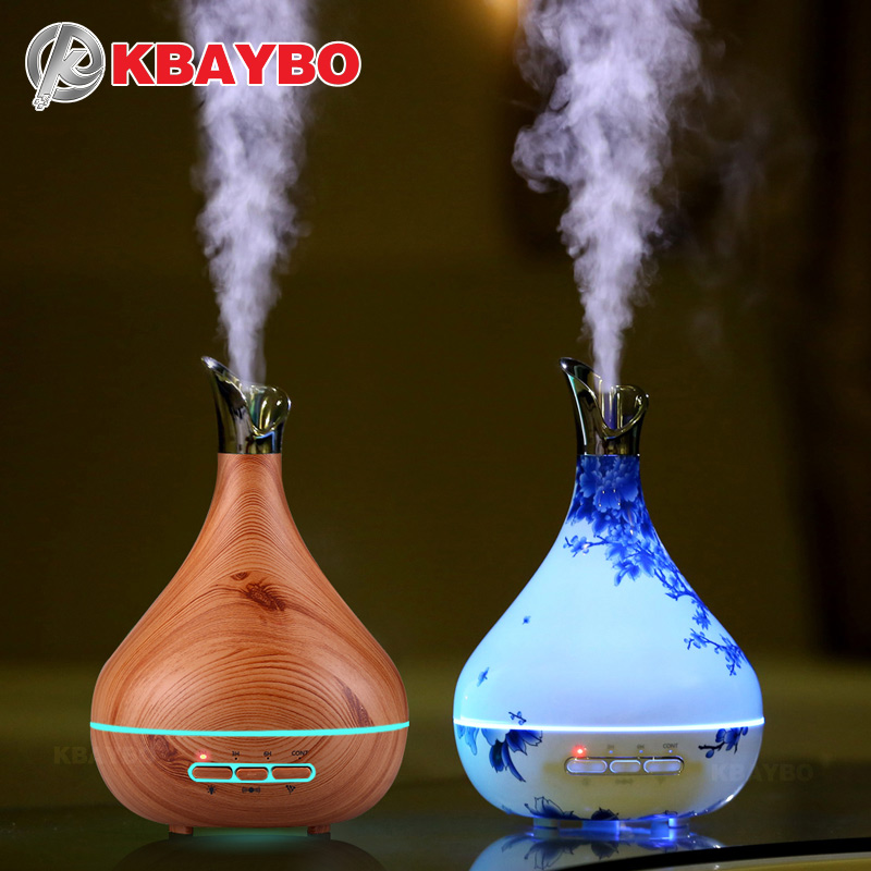 300ml Aroma Essential Oil Diffuser Ultrasonic Air Humidifier purifier with Wood Grain LED Lights for Office Home Bedroom