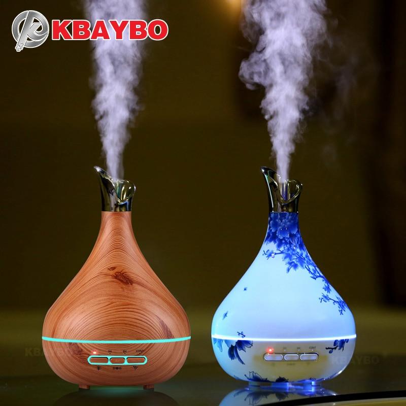 KBAYBO 300 ml Aroma difusor de aceite esencial ultrasonido humidificador de aire purificador con grano de madera luces LED para oficina dormitorio