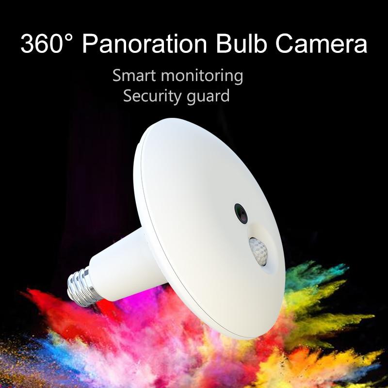 3MP Full HD 360 Degree Panoration Bulb Camera 360Eyes PIR Bulb Wifi Camera IR 10m Smart
