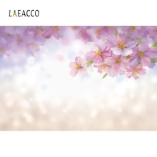 Laeacco Spring Shiny Polka Dots Pink Blossom Flower Baby Portrait Photo Backgrounds Photography Backdrops For Studio
