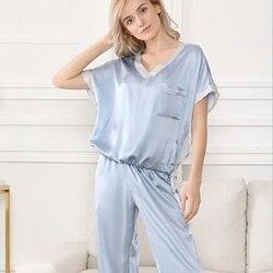Silk Stain Pajamas Set Plus size Women Sexy Sleepwear Silk Pyjamas V neck Short Sleeve Blue Ladies Sexy Nightwear Sleepwear Set