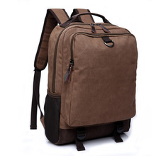 Fashion Men Canvas Leather Backpack for College Student Travel School Bags Male Multifunction Business Packbags Laptop