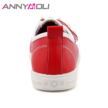 ANNYMOLI Shoes Women Flats Rivets Flat Shoes Round Toe Pearls Loafers 2018 Spring Casual School Shoes Red White chaussures femme 6