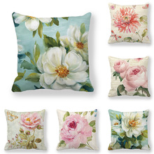 Retro Flowers Cushion Cover Soft Polyester Floral Pillow Cases for Sofa Car Bed Decorative Sweet Home Living Room Decor 45x45cm