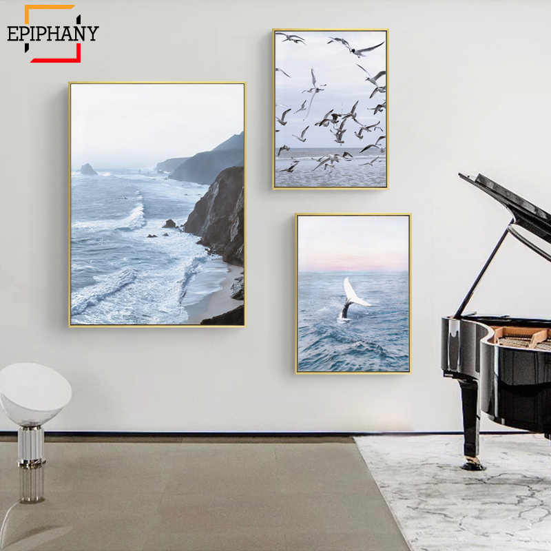 Navy Blue Triptych Wall Art Coastal Print Ocean Whale Gallery Canvas Painting Seascape Nordic Wall Pictures for Living Room