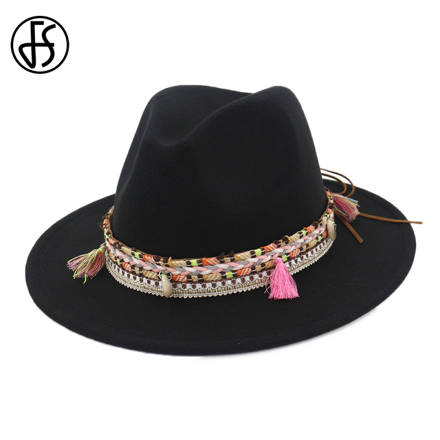 FS Cotton Women Men Black Red Felt Fedora Top Hat With Tassel Bohemia  Ribbon Elegant Autumn Wide Brim Jazz Lady Church Hats e1d36c69b668