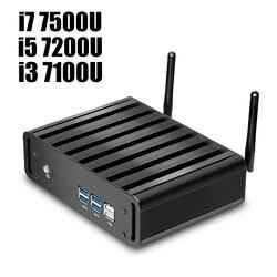 إنتل كور i7 7500U i5 7200U i3 7100U كمبيوتر مصغر ويندوز 10 كمبيوتر مصغر 8GB RAM 240GB SSD 4K HTPC HDMI VGA واي فاي جيجابت LAN