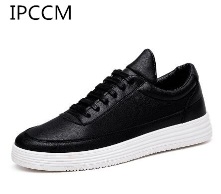 ipccm luxury brand men shoes leather casual black shoes