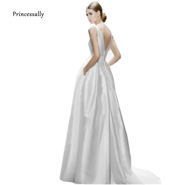 41596ed4a97 New Satin Wedding Dress Long Court Train Sexy Backless Sleeveless Formal  Simple Bride Marriage Robe Noiva Wedding Gowns 2018