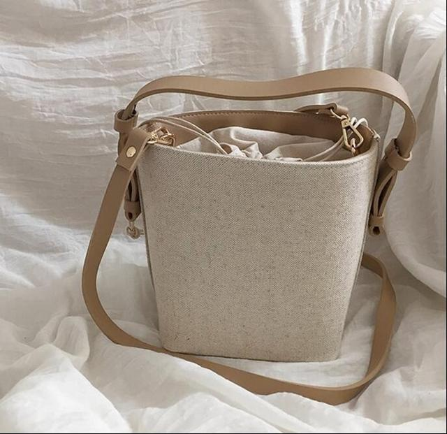 Trendy Canvas Crossbody Small Bucket Bag for Women