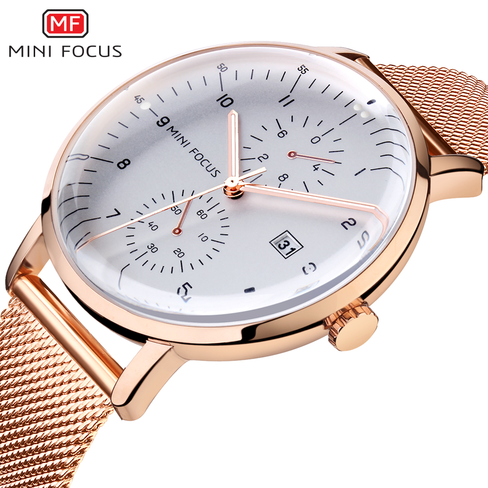 MINI FOCUS Top Brand Luxury Men Quartz Watch Stainless Steel Bussiness Mens Watches Rose Gold Waterproof Fashion Male Clock