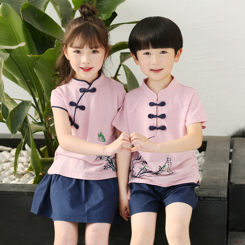 2018 Kids Summer School Uniform Class Suit 2pcs Baby Boys Girls Choral Uniforms Children Clothing Set T-shirts + Shorts Skirts new 2016 summer cartoon children clothing set plaid kids shorts t shirts 2pcs boys sport suit set fit for 2 7year y01