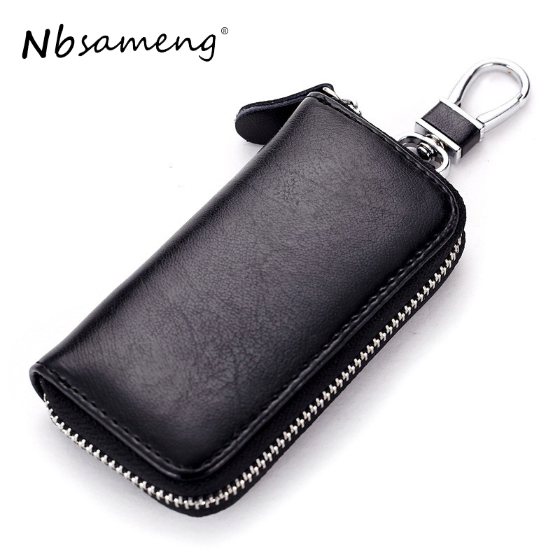 Genuine Cow Leather Men & Women Car Key Bag Wallet Multi Function Key Case Fashion Housekeeper Holders 6 Key Rings