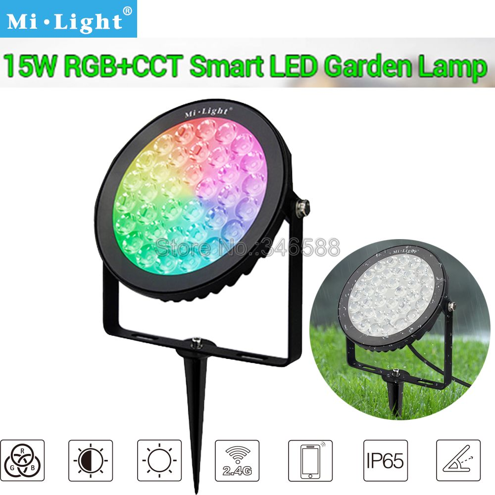 Mi.light FUTC03 IP65 Waterproof 15W RGB+CCT LED Garden Light Outdoor Lawn Light AC110V 220V 2.4G Wireless Remote & WiFi Control