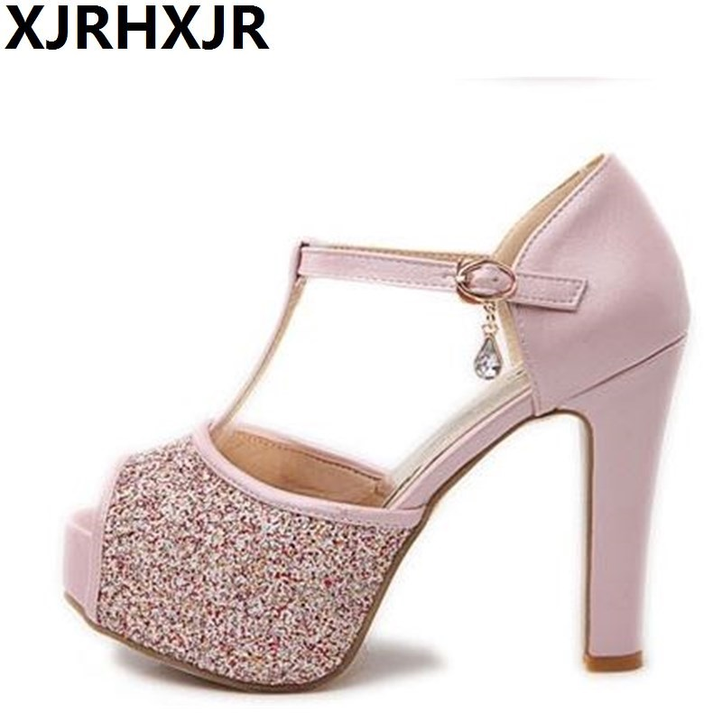 High Heels Peep Toe Shoes Female Glitter T-strap Sandals Women Platforms Pumps Sexy Party Wedding Shoes Big Size 34-42 lady elegant sexy big size 4 17rhinestone peep toe pu buckle strap thin high heels women shoes pumps sandals girls summer style