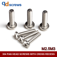 304 M2.5M3 stainless steel Pan head screws with cross recess Phillip round screw GB818 DIN7985 ISO 7045