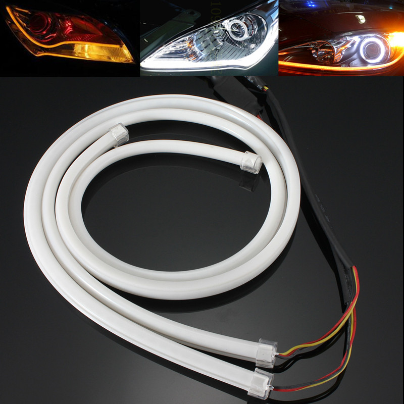 2x 85cm Daytime Running Light Universal Flexible Soft Tube Guide Car LED Strip White DRL and Yellow Turn Signal Light Waterproof jurus 30cm flexible led tube strip white yellow soft daytime running light drl headlamp car styling parking lamps promotion