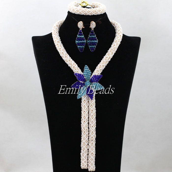 Pretty Beige/White Women Bridal Jewelry Set Dubai African Jewelry Sets  Valentines Gift 2016 Beads Free Shipping ALJ219Pretty Beige/White Women Bridal Jewelry Set Dubai African Jewelry Sets  Valentines Gift 2016 Beads Free Shipping ALJ219