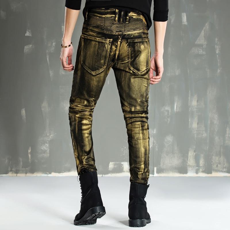 Paint Biker Jeans For Men,High Quality Moto Jeans/Slim Fit Mid Waist Zipper Decoration Denim Pencil Pants Man mid stripe punk men s blue jeans ripped slim fit denim pants male high quality vintage brand clothing moto jeans men rl608