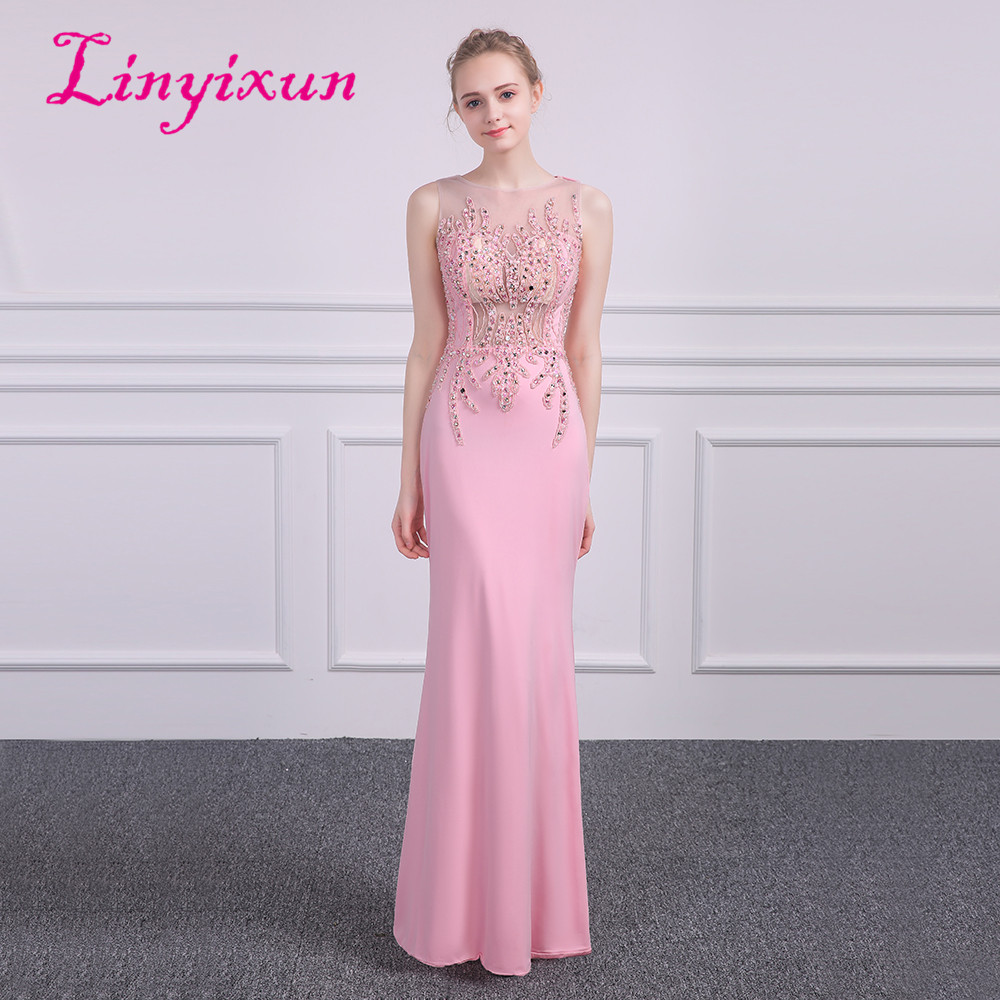Linyixun 2018 Long   Prom     Dresses   Mermaid Formal Women Evening Party Gowns Beaded Sexy Scoop Zipper Back Vestido De Festa