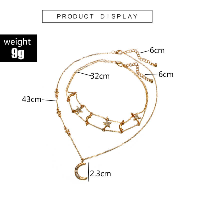 HuaTang Star Moon Pendant Necklace Boho Geometric Crystal Layered Necklaces for Women Girl Waterdrop Opal Collar Choker Jewelry 13