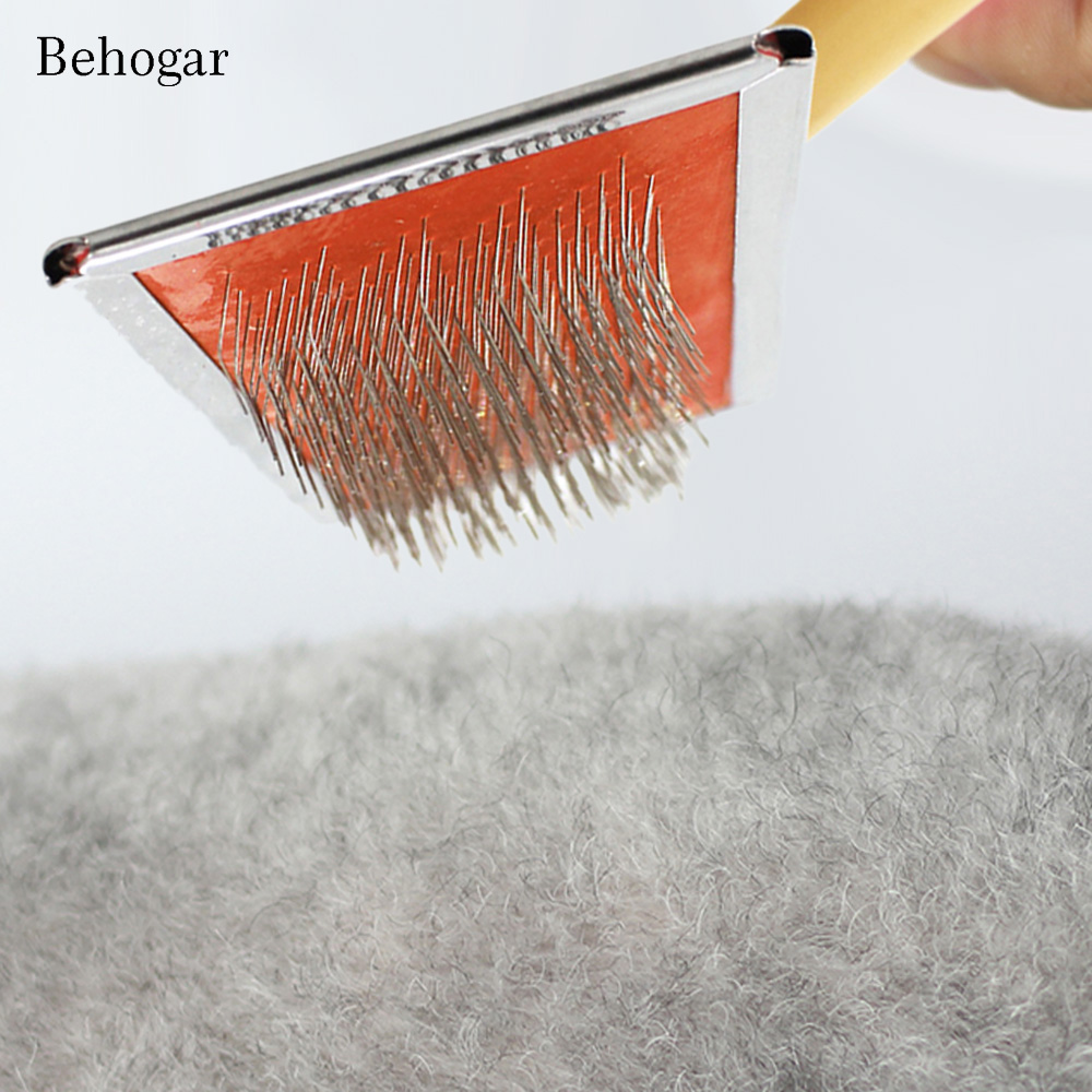 Behogar Pet Cat Dog Cleaning Slicker Brush Remove Tangles and Loose Fur Hair Grooming Trimmer Rake Professional Comb Brushes