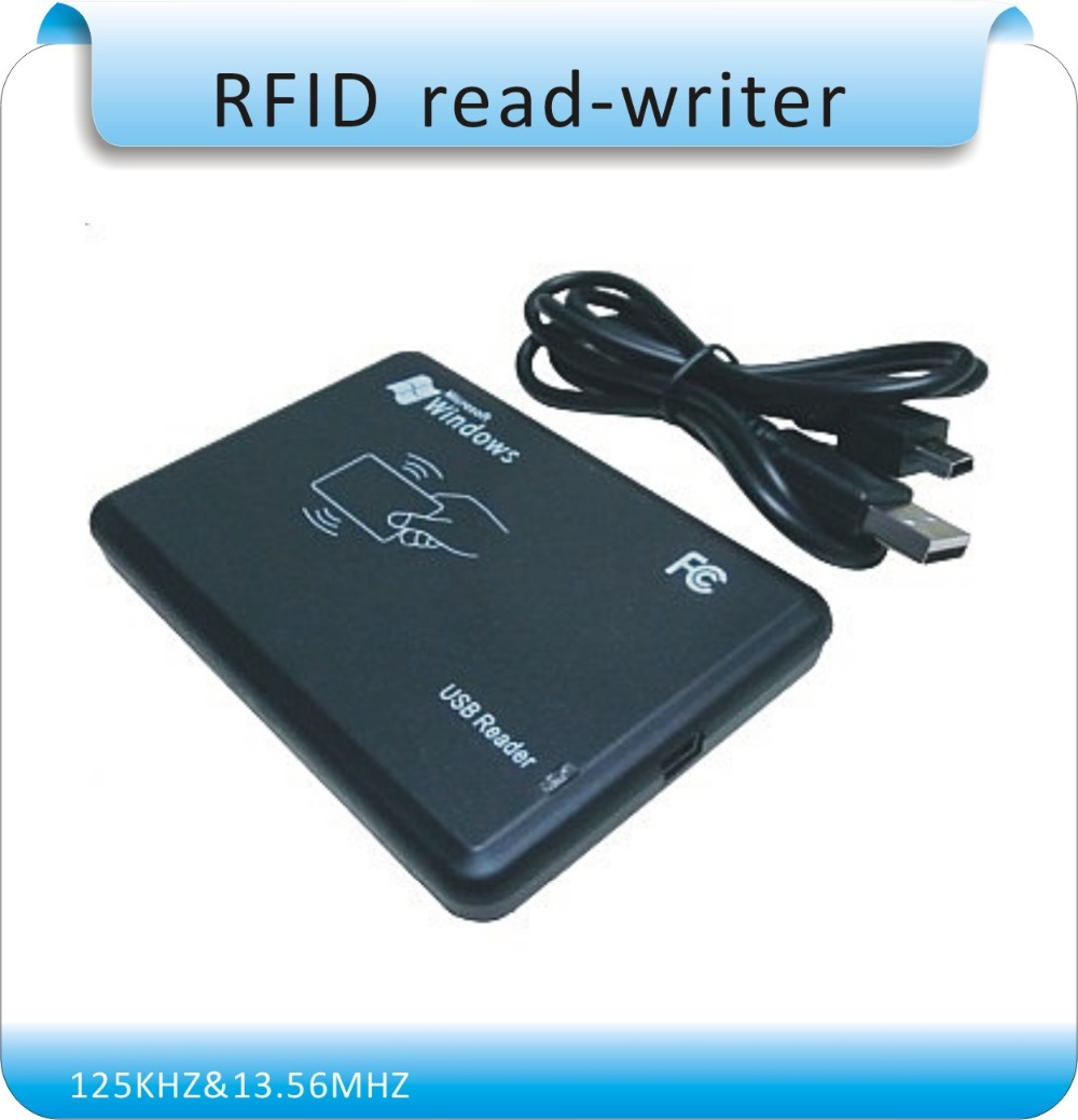 ФОТО Free shipping 125KHZ &13.56MHz two frequency RFID Reader Writer/ RFID copier USB Avoid driving English software  ISO14443A