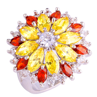 lingmei Free Ship Wholesale Citrine Garnet White Topaz 925 Silver Ring Size 7 8 9 10 11 12 13 Women Charming Jewelry Nice Flower