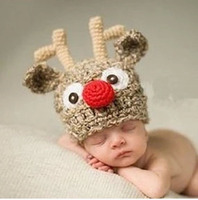 Christmas Baby Crochet Hat Rabbit Baby Winter Hat Neonatal Photography Props Baby Babe Knitted Reindeer Hand