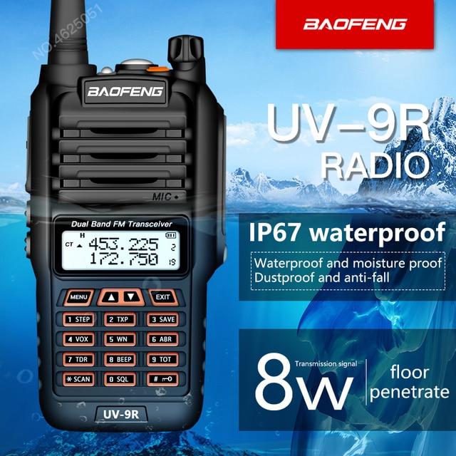 Baofeng Su Geçirmez UV 9R talkie walkie 8 W UHF/VHF walkie talkie aralığı 5 KM cb radyo Çift Bantlı El UV9R Jambon iki yönlü telsiz