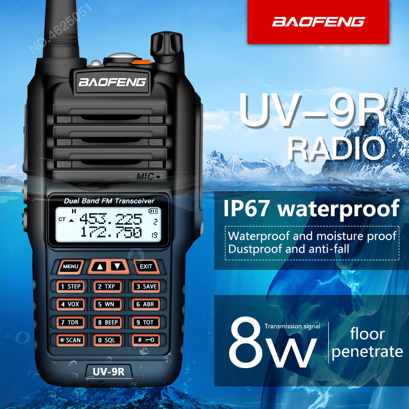 Baofeng UV-9R 8 W UHF walkie talkie À Prova D' Água/VHF walkie talkie gama 5 KM cb rádio Portátil Dual Band UV9R Ham rádio em dois sentidos